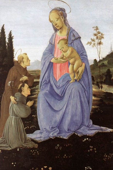 Madonna with Child St Anthony of Padua and a Friar before 1480. Filippino Lippi