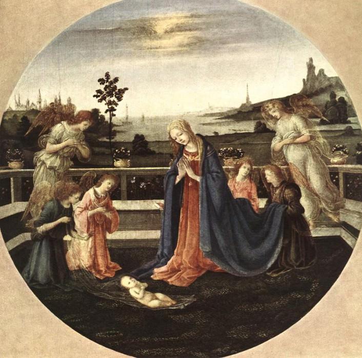 Поклонение Младенцу, 1480-83. Филиппино Липпи