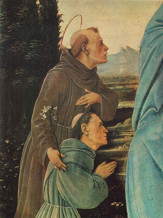 Madonna with Child St Anthony of Padua and a Friar before 1480 detail. Filippino Lippi