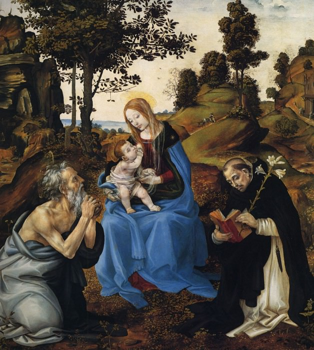 The Virgin and child with St Jerome and Dominic. Filippino Lippi