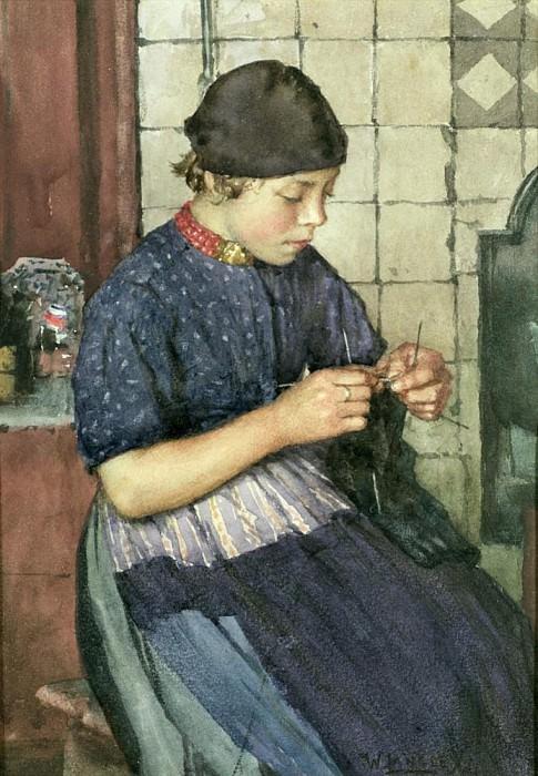 Girl Knitting. Walter Langley