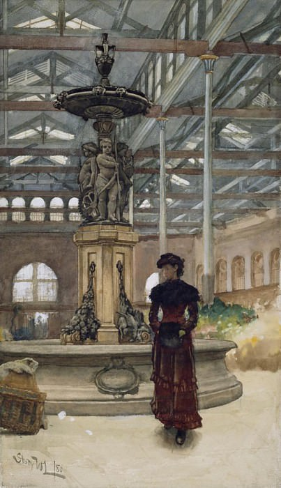 Old Market Hall and Fountain, Birmingham. Walter Langley