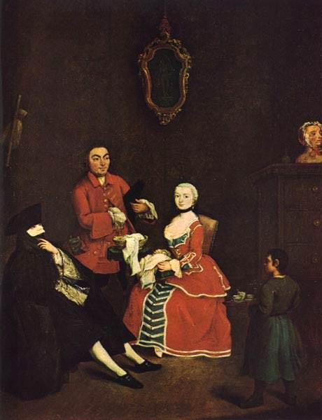 Visita in bautta. (1760). Venezia, Ca Rezzonico.. Pietro Longhi
