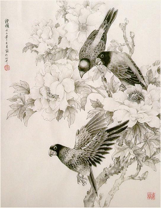 Zhen LianQuan ThreeParrotsAndPeony sj. Zhen Lian-Quan
