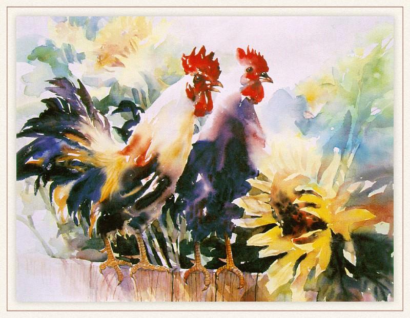 Zhen LianQuan RoosterAndSunflowers sj. Zhen Lian-Quan