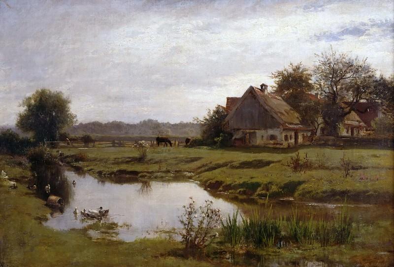 Farm by the stream in Etzenhausen. Adolf Heinrich Lier