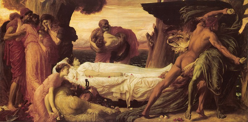 Hercules Wrestling with Death for the Body of Alcestis. Frederick Leighton