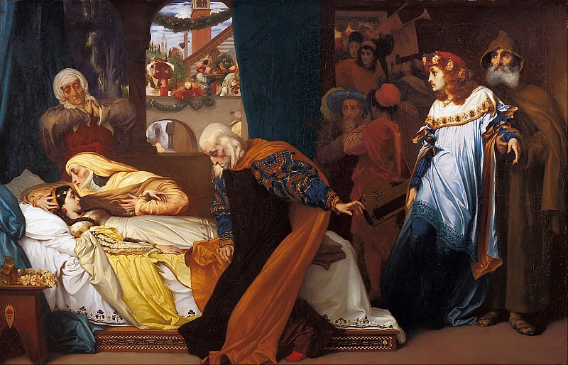 The feigned death of Juliet. Frederick Leighton
