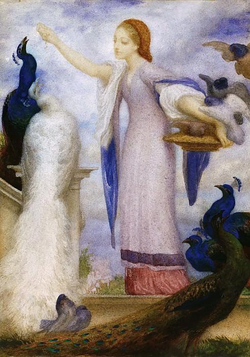 Girl Feeding Peacocks. Frederick Leighton