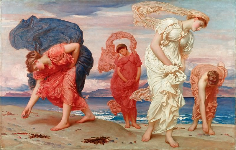 Greek girls picking up pebbles. Frederick Leighton