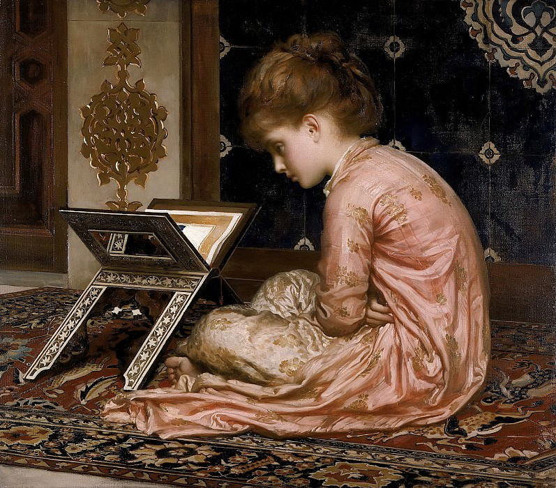 Study an illuminated manuscript at a reading desk. Frederick Leighton