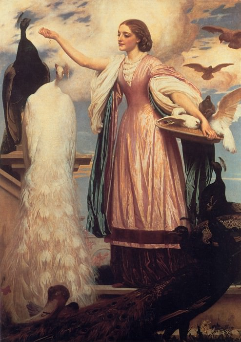 A Girl Feeding Peacocks. Frederick Leighton