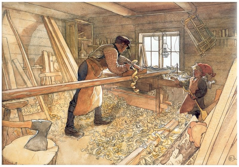 Мастерская плотника, 1904-06. Карл Улоф Ларссон