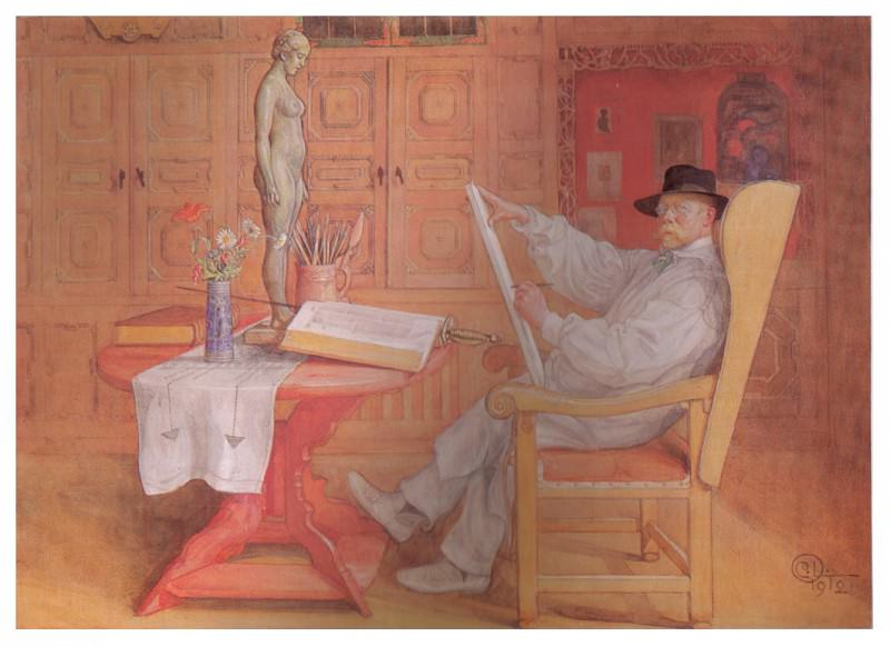 1912 Self-Portrait in the Studio watercolor. Carl Larsson