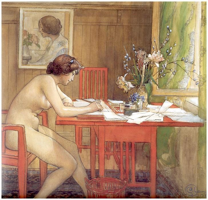 Модель, пишущая почтовую открытку, 1906. Карл Улоф Ларссон
