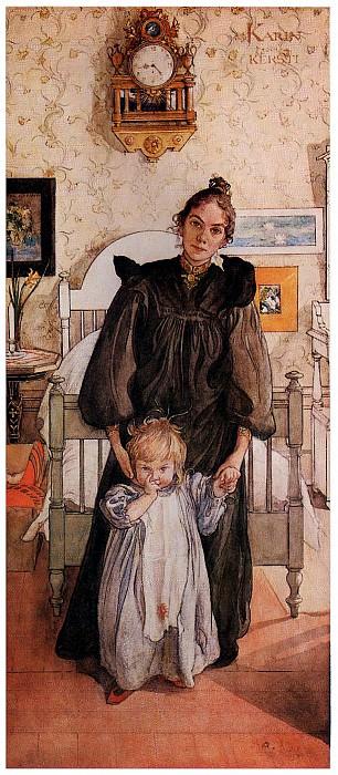 ls Larsson 1898 Karin and Kersti watercolor. Carl Larsson