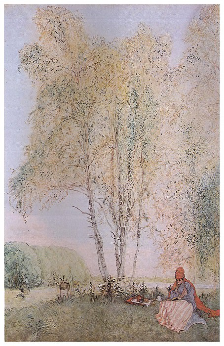 1902 Under the Birches watercolor. Carl Larsson