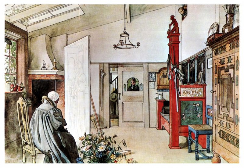 1894-97 The Other half of the Studio watercolor. Carl Larsson