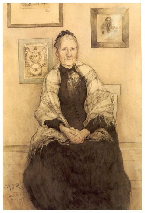 Mi madre watercolour 1893. Carl Larsson