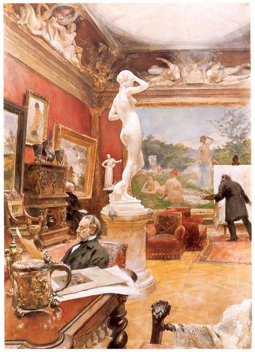 Interior de la galeria Furstengerg en Gooteborg watercolor 1885. Carl Larsson