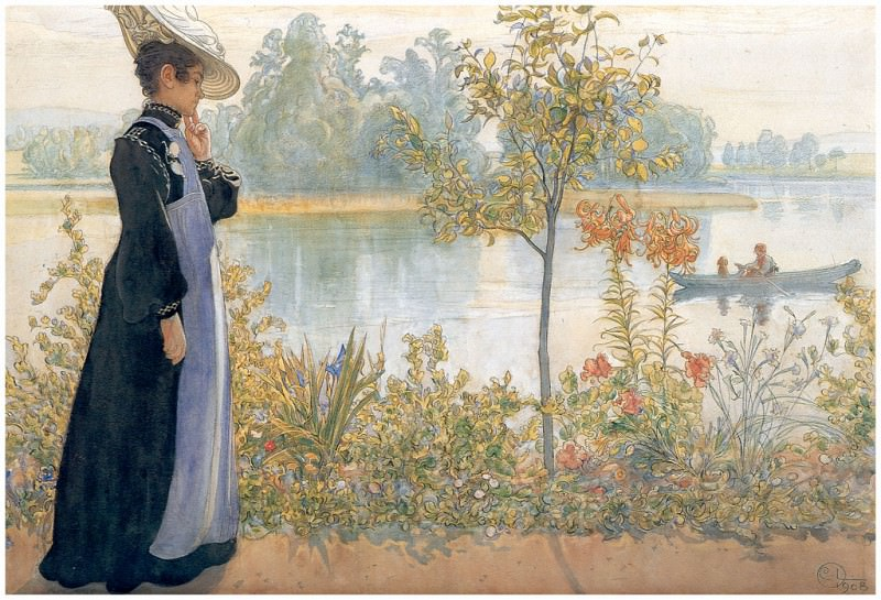 Karin a la orilla del agua 1908. Carl Larsson