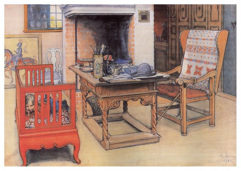 ls Larsson 1901 Peek-a-Boo watercolor. Carl Larsson