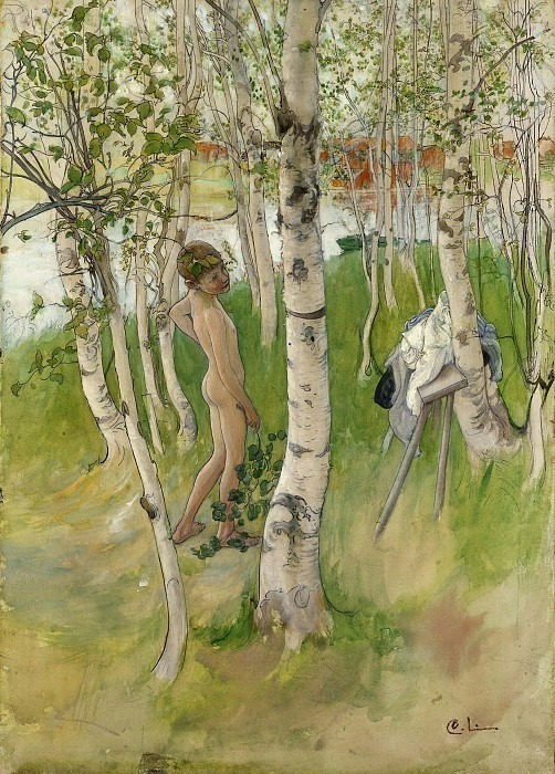 Ulf. Nude Boy among Birches. Carl Larsson