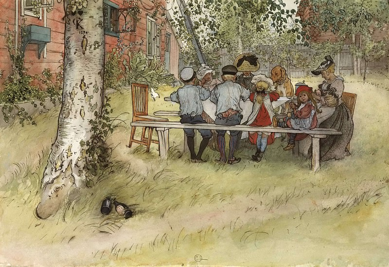 Breakfast under the Big Birch. From A Home. Carl Larsson