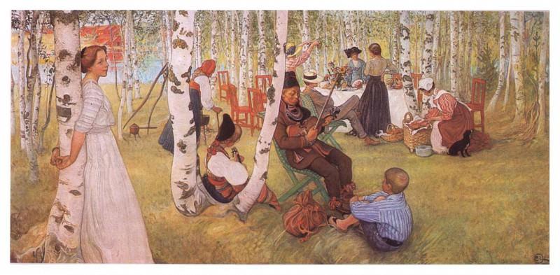 1910-13 Breakfst in the Open oil. Carl Larsson