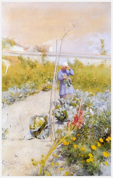 En la huerta-jardin watercolor 1883. Carl Larsson