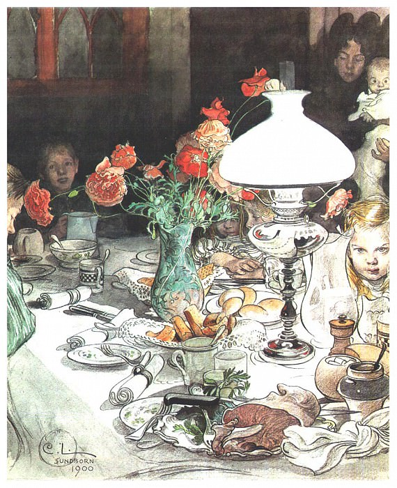 l1900 Around the lamp at evening watercolor. Carl Larsson