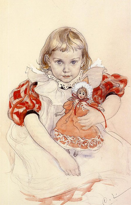 A Young Girl with a Doll. Carl Larsson
