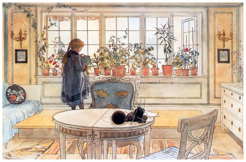 La ventana con flores 1894-96. Carl Larsson