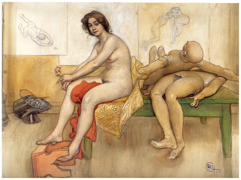 La Modelo Sobre La Mesa 1906. Carl Larsson