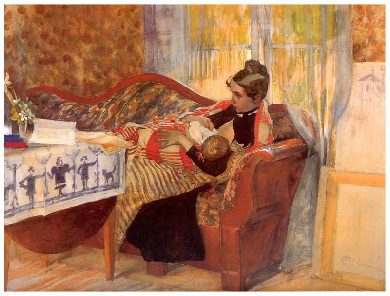 Karin y Brita watercolour 1893. Carl Larsson