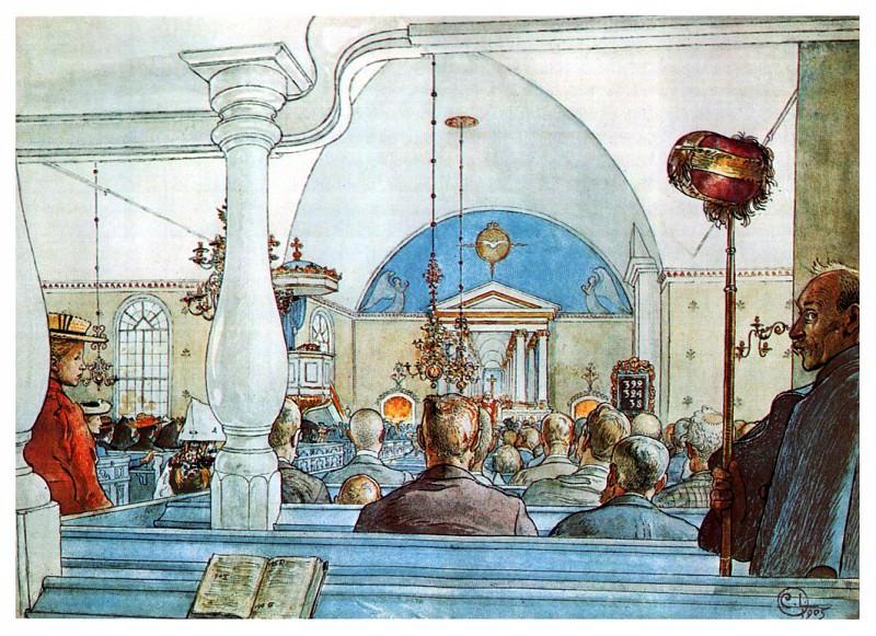 В церкви, 1905. Карл Улоф Ларссон