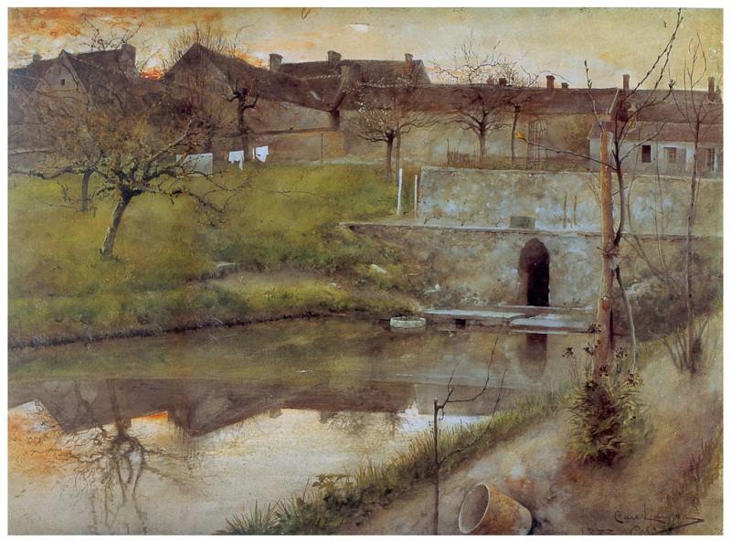 El estanue de Grez-sur-Loing watercolor 1883. Carl Larsson