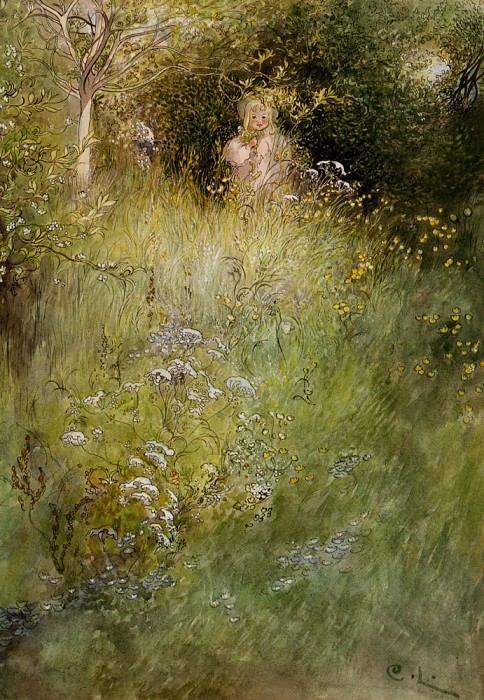 A Fairy Or Kersti And A View Of A Meadow. Carl Larsson
