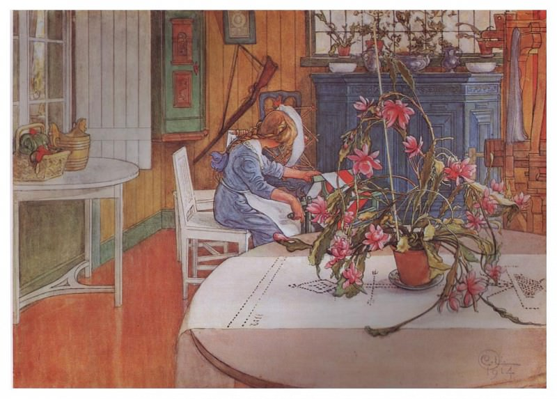 1914 Interior with cactus watercolor. Carl Larsson