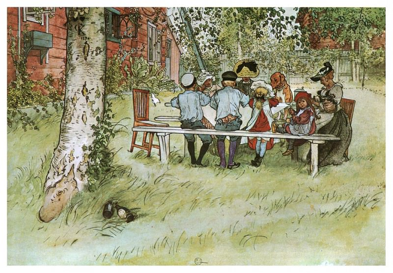 1894-97 Breakfast under the Big Birch watercolor. Carl Larsson