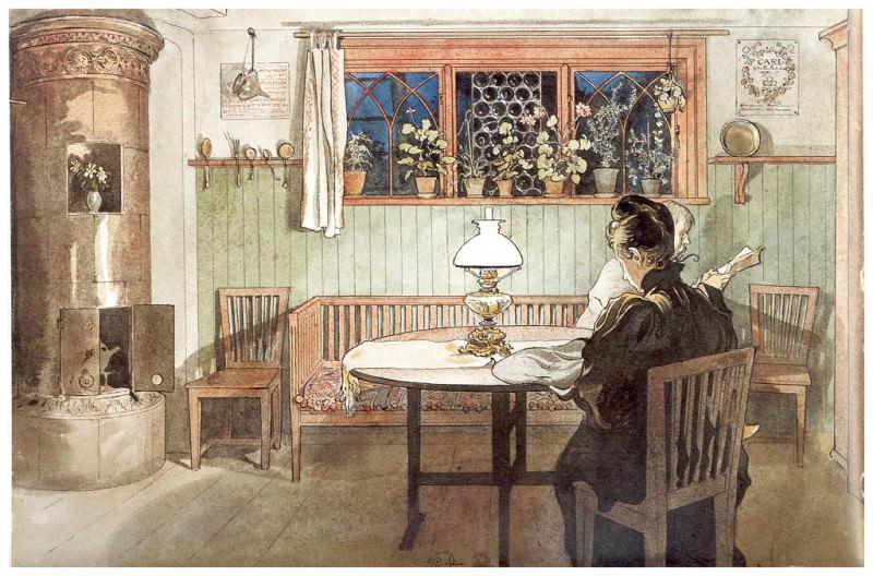 Despues de acostar a los niсos 1894-96. Carl Larsson