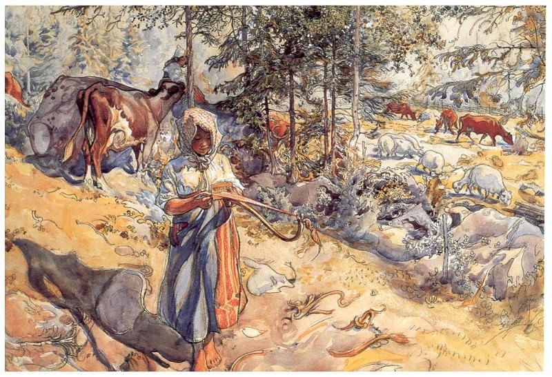 Стадо коров на лугу, 1904-06. Карл Улоф Ларссон