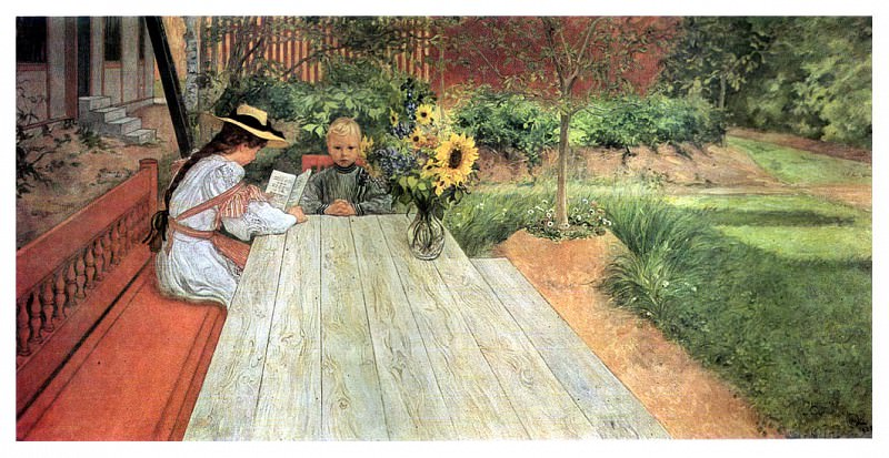 1903 The first Lesson oil. Carl Larsson