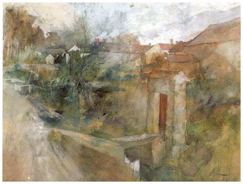 Vista de Montcourt watercolor 1884. Carl Larsson