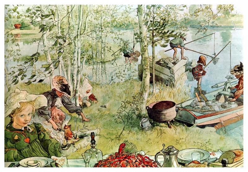 1894-97 The Crayfish Season Opens watercolor. Carl Larsson