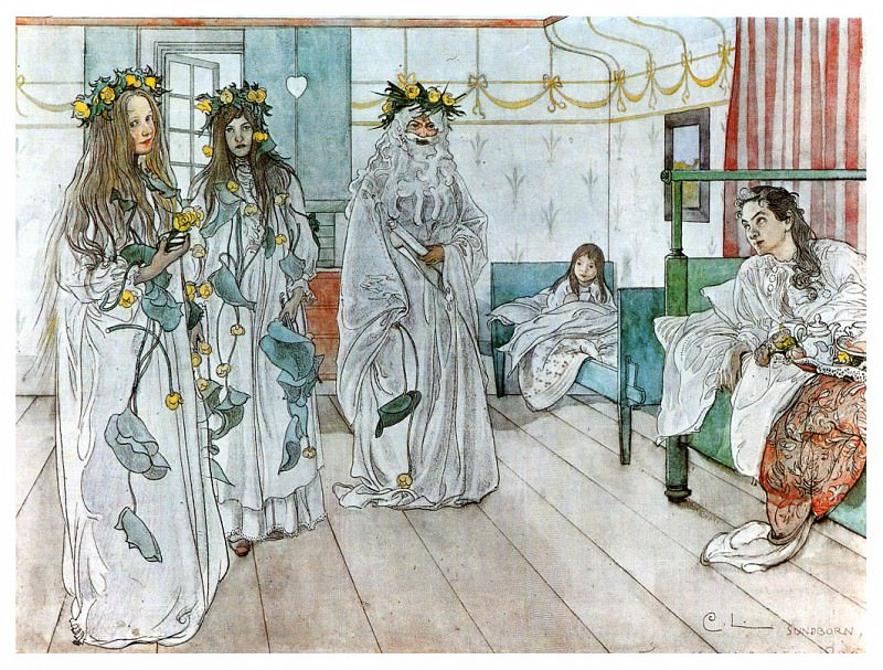 1899 For Karins name-day 1899 watercolor. Carl Larsson