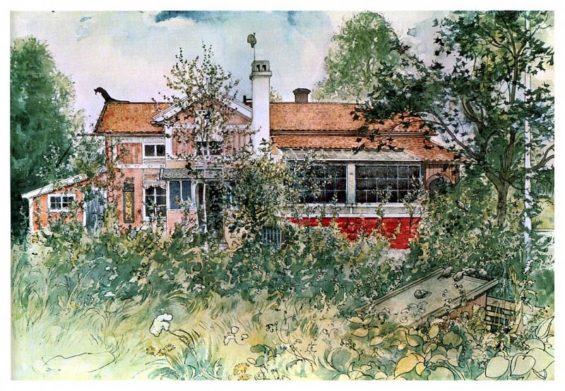 1894-97 The cottage watercolor. Carl Larsson