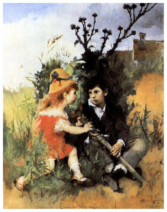 1877 Clair-obscur oil. Carl Larsson