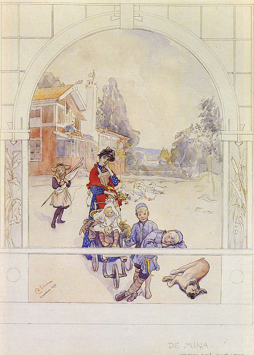 My Loved Ones SnD SUNDBORN 1893 watercolor on paper 45.1 by 3. Carl Larsson