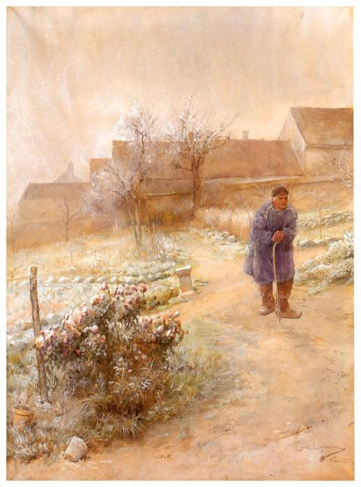 Noviembre(La escarcha) watercolor 1882. Carl Larsson